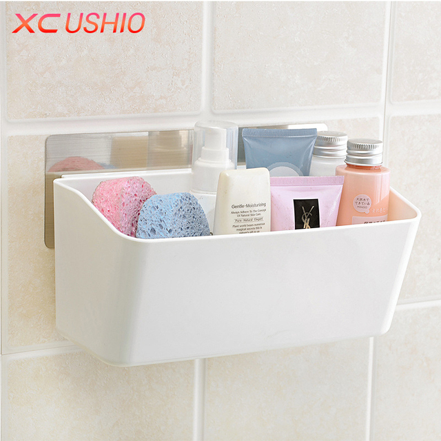 Creative Strong Stickers Wall Storage Box Detachable Kitchen Bathroom  Cosmetic Toiletries Organizer Holder Drain Rack