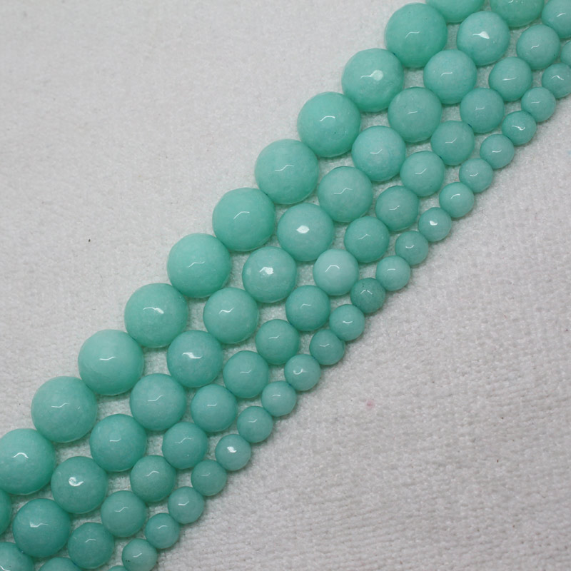 Blue Amazonite Color Jade Gemstone Round Loose Spacer Beads For Jewelry Making