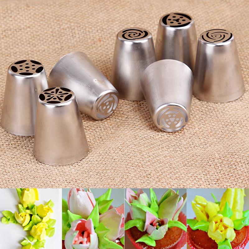 Russische Tulp Icing Piping Nozzles 7 Stks/set Cake Decoratie Tips 3d Printer Nozzle Koekjes Sugarcraft Pastry Diy Bakken Tool Het Comfort Van Het Volk Aanpassen