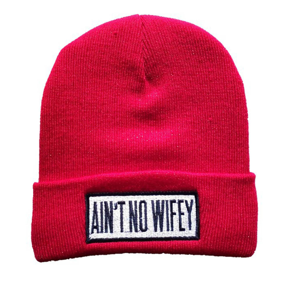 New Letter Hats for Women AIN'T NO WIFEY Knitted Caps For Men Wool Beanies Hat Thick High Quality Winter Gorros / Bonnets 2016 new fashion letter gorros hats bonnets