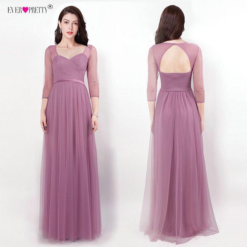 Ever Pretty Long   Prom     Dresses   Sweetheart Three Quarter Sleeve Vestido Longo Backless Gala Jurken Floor-Length Banquet Party Gown
