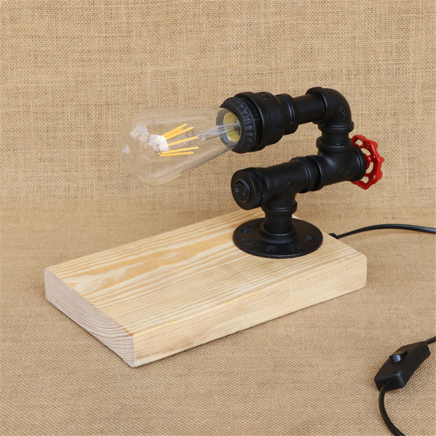 Steampunk Water Pipe Table Lamp Vintage Style Desk Light E27 Holder Wood Base Modern Antique Table Light study light fixtures