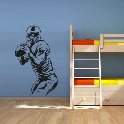 Football Player Wall Stickers America Soccer Rugby Sport Helmet Man Ball Wall Art Decals For Kids Room Boy Bedroom Mural JW174
