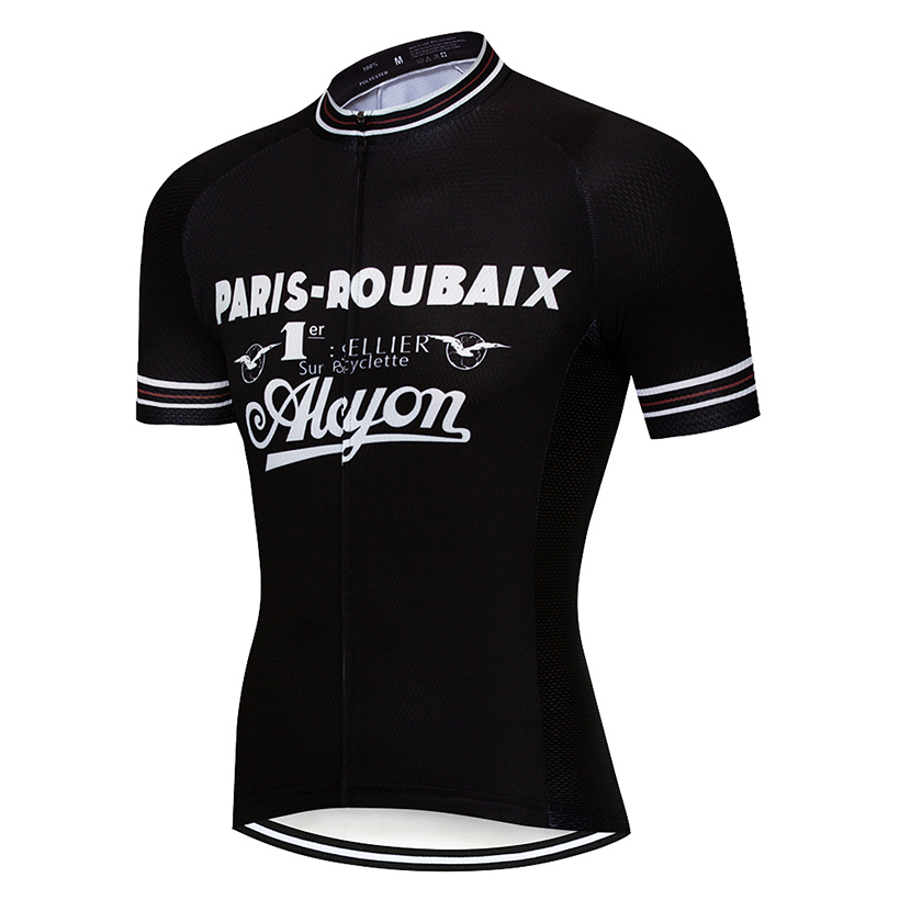 Retro Paris Cycling Jersey Short Sleeve Black Bicycle Bike Ropa Ciclismo Clothes
