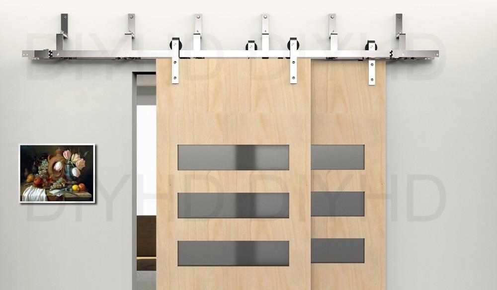 DIYHD 5.5FT 10FT Stainless Steel Bypass Sliding Barn Door Hardware Wall  Mount Bracket For