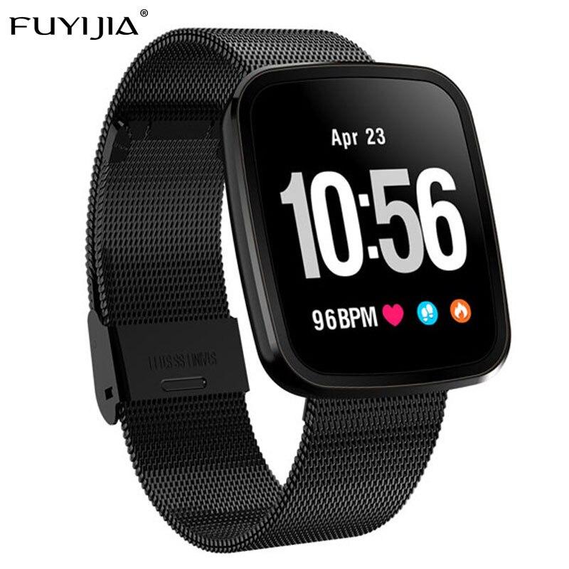 FUYIJIA 2019 Nouveau Étanche montre connectée Femme montre pour homme GPS montre de sport Prévisions Météo de Fréquence Cardiaque Surveillance de la Pression Artérielle