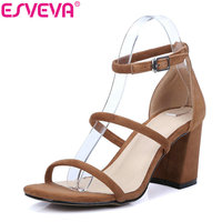 ESVEVA 2017 Ankle Strap Square High Heels Sandals Summer Peep Toe Sandal Genuine Leather Sandals Woman