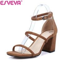 ESVEVA 2017 Ankle Strap Square High Heels Sandals Summer Peep Toe Sandal Genuine Leather Sandals Woman