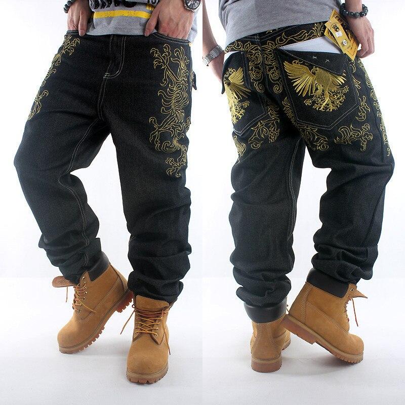 d0f515d6353 2017New HIPHOP Black mens jeans hip hop gold embroidery loose baggy style  boy denim pants men