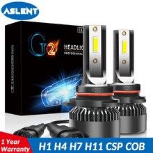 ASLENT 2pcs Mini Car Headlight H7 Bright 6000K LED Bulbs H1 H4 H11 9005 9006 9012 Auto Headlamps 72W 8000LM Fog Lights 12V