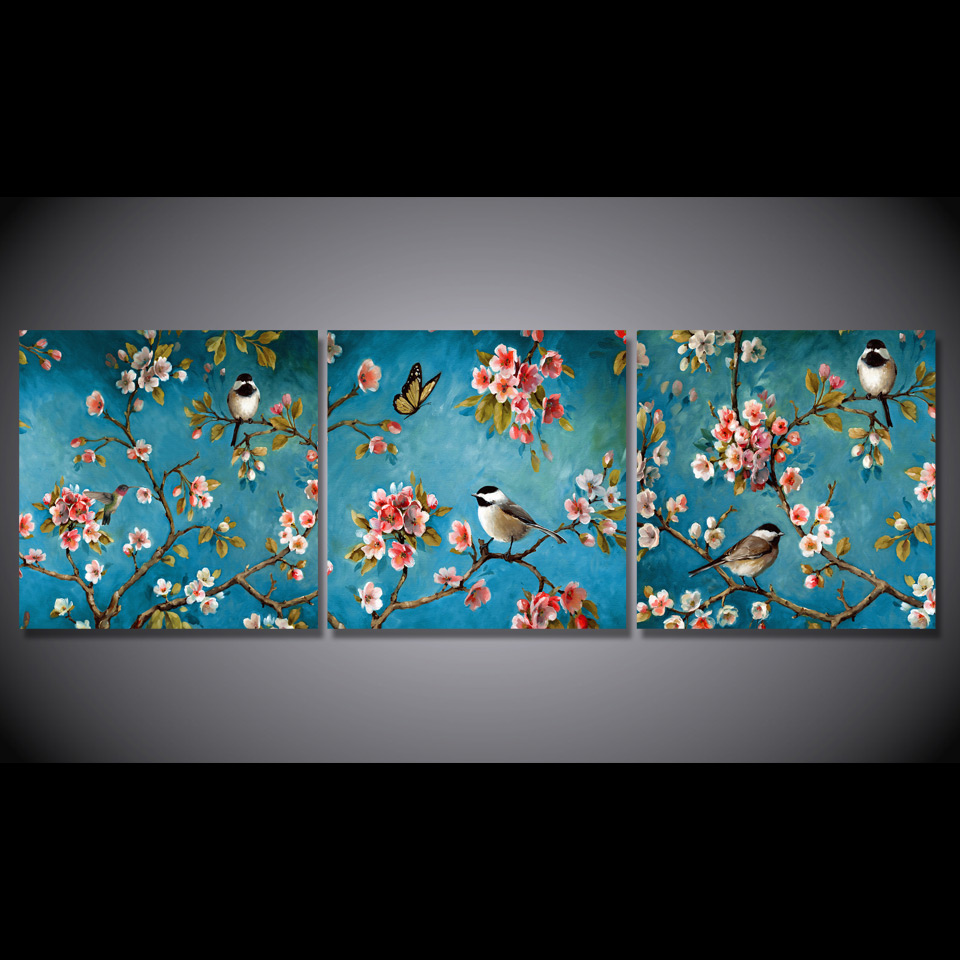 3 pcs set framed hd printed chinese art birds flowers picture wall art print decor canvas oil. Black Bedroom Furniture Sets. Home Design Ideas