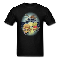 Mens Tasty tunes T-shirts Popular Autumn Good Music Tops Geek Burgers fries cola t shirts Design Fit Size M Brother Home uniform