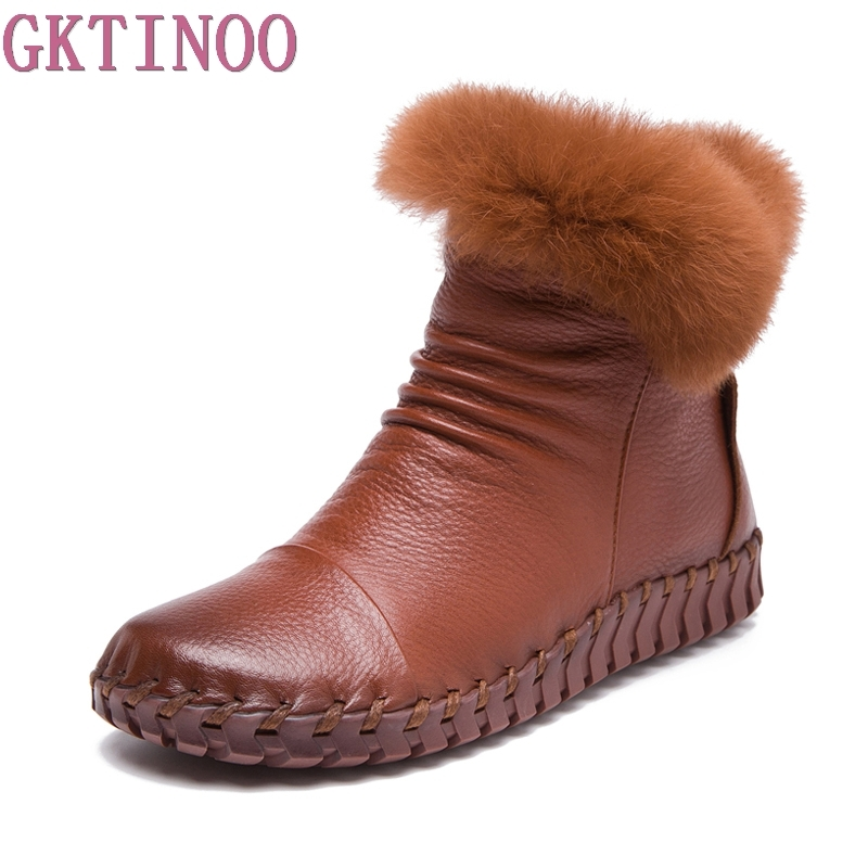 Handmade Women's Winter Boots Women Real Fur Winter Shoes Woman Genuine Leather Warm Ankle Snow Boots Mujer Chaussure