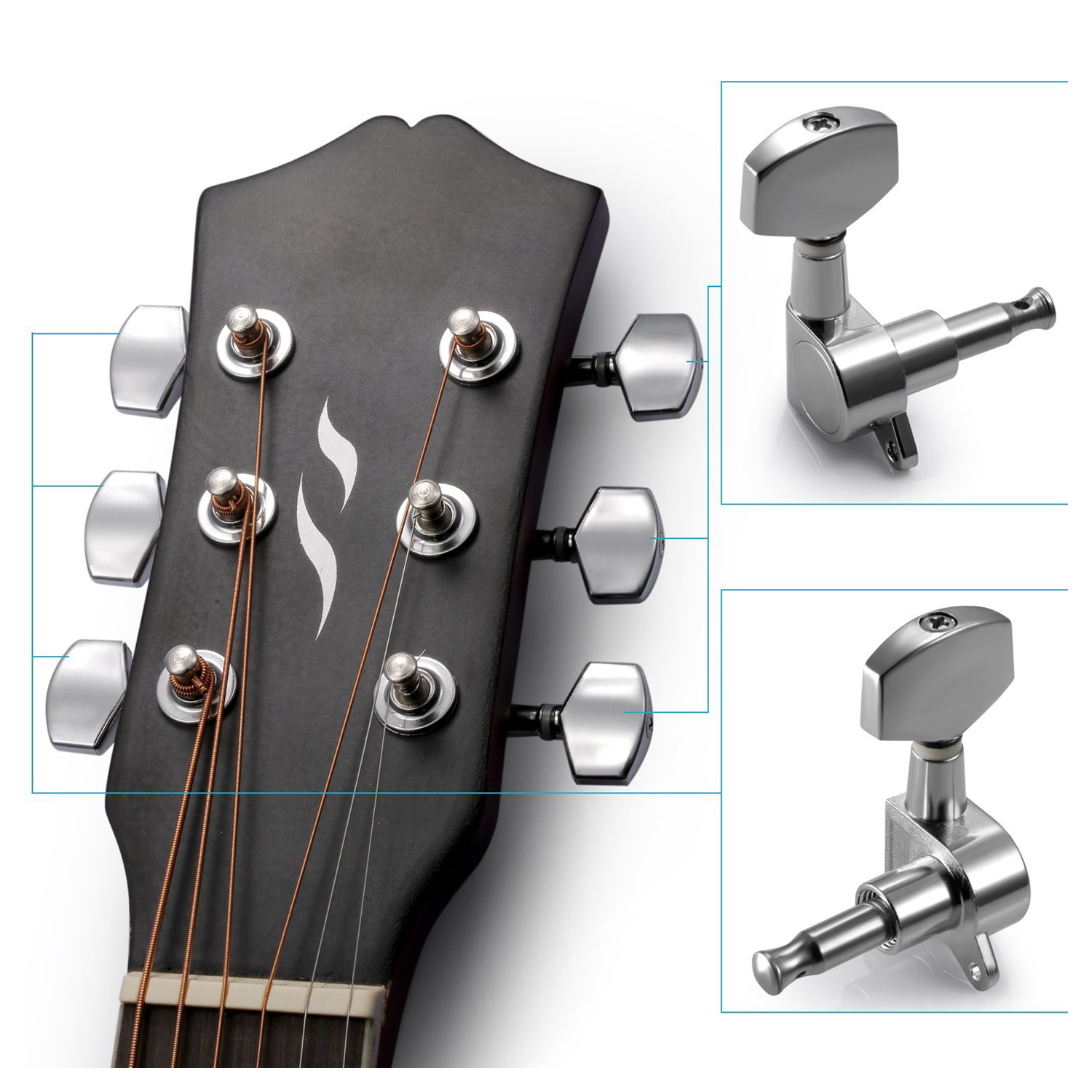 irin 6 pieces sliver acoustic guitar machine heads knobs guitar string tuning peg tuner 3 for. Black Bedroom Furniture Sets. Home Design Ideas