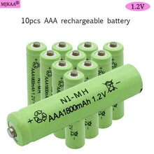 10 AAA 1800mAh 1.2V 100% high quality rechargeable battery NI-MH rechargeable 3A NiMH battery 1.2V 10x aa 3000mah 10x aaa 1800mah 1 2v nimh green color rechargeable battery cell 2a 3a for flash light toys battery