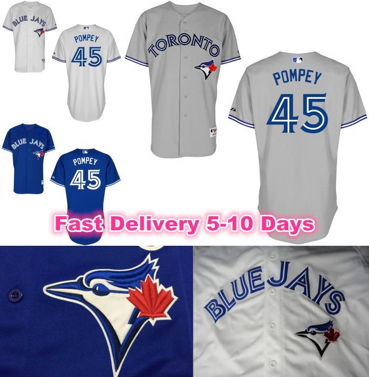 45 dalton pompey toronto blue jays baseball jersey white gray blue cool base men sport shirts