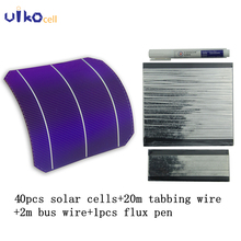 40Pcs 156mm Semi Flexible Solar Cell 4.6W with 60M Tabbing Wire 6M Bus Wire and 3pcs Flux Pen