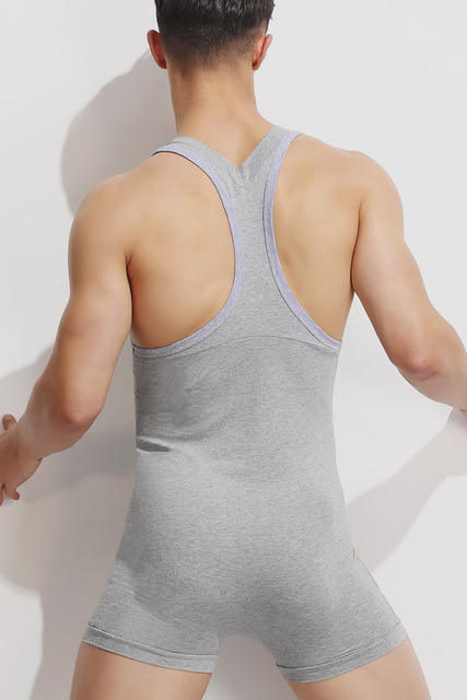 2018 Sexy Undershirt Men bodysuit body cotton lycar Man jumpsuit wresting Undershirts tight shaper gay exotic club Dance Party