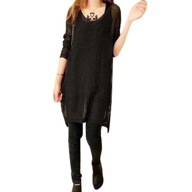 Split skirt long-sleeved sweater Spring  Autumn new Korean version was thin loose long section of hollow thin knit sweaterdress
