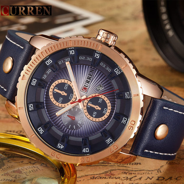 CURREN Mens Watches Top Brand Luxury Gold Quartz Watch Waterproof Leather Men Wristwatches Casual Sport Clock Relogio Masculino