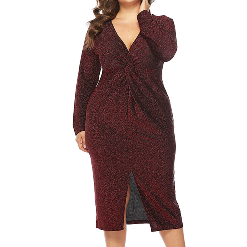 Shining Celebrity inspired Glitter Dress Women Long Sleeve Sequin Midi Dresses Sexy Sleeveless V Neck High Split Bodycon Dress