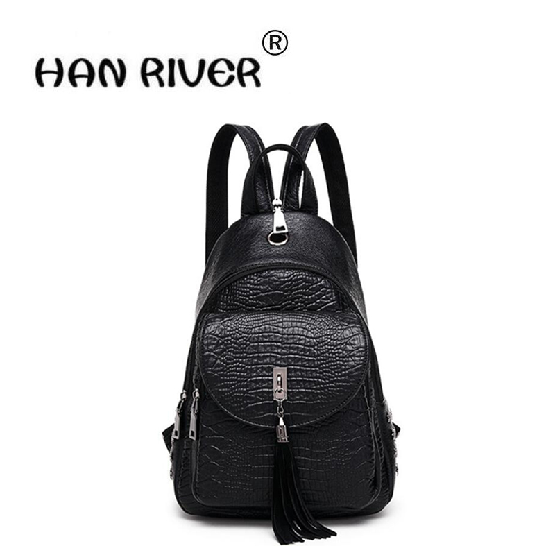 HANRIVER 2018 Spring and summer new women's fashion casual and easy and comfortable simple and elegant tassel backpack 2209 wholesale 2017 new spring and summer man casual backpack wave packet multi function oxford backpack