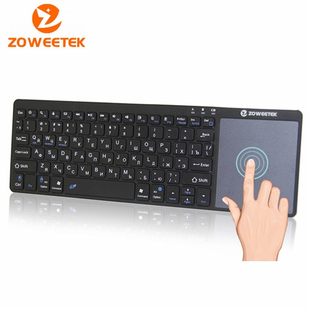 Echtes Zoweetek K12BT-1 Mini Drahtlose Bluetooth Tastatur Russische Englisch Spanisch Touchpad Für smart tv box PC Android telefon Pad