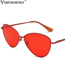 2019 Cat Eye Sunglasses Women Fashion Red Orange Oval Shape Oculos De Sol Feminino Vintage Metal Frame Shades Brand Designer