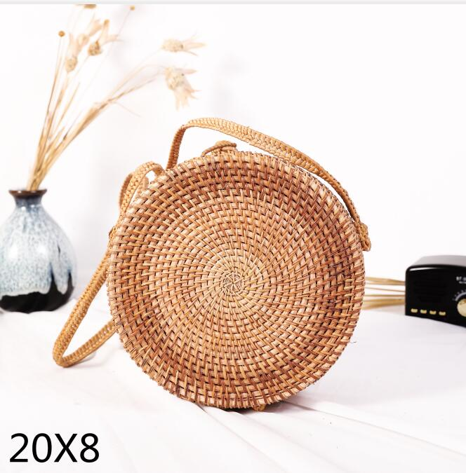 Woven Rattan Bag Round Straw Shoulder Bag Small Beach HandBags Women Summer Hollow Handmade Messenger Crossbody Bags 16