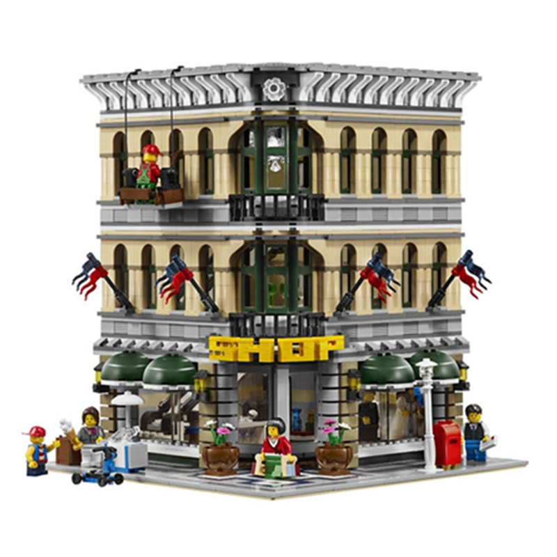 Diy City Creator Grand Emporium Model Building Blocks Brick Toy Compatible with Legoingly 10211 for Children Birthday Gifts lepin 15018 3196pcs creator city series sunshine hotel model building kits brick toy compatible christmas gifts