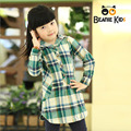Free Shipping 2014 Brand Girls Blouse Autumn Winter Children Hooded Plaid Blouse Baby Girls Cotton Long Shirt Tops Blusas