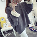 2016 new hot sale women's autumn winter batwing sleeve turtleneck big yards knit pullovers coats woman thick sweaters 4 colors