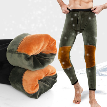 Men's Winter Warm Pants Super Thicken Warm Underwear Trousers Mens Comfortable Modal Thermal Underwear Solid Male Thermos Pants Long Johns