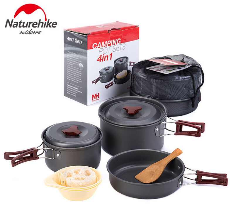 NatureHike Outdoor Tableware Camping Hiking Cookware Tableware Picnic Backpacking Cooking Bowl Pot Pan Cooker Set 4Pcs In One vel vel 03 06 04 04300