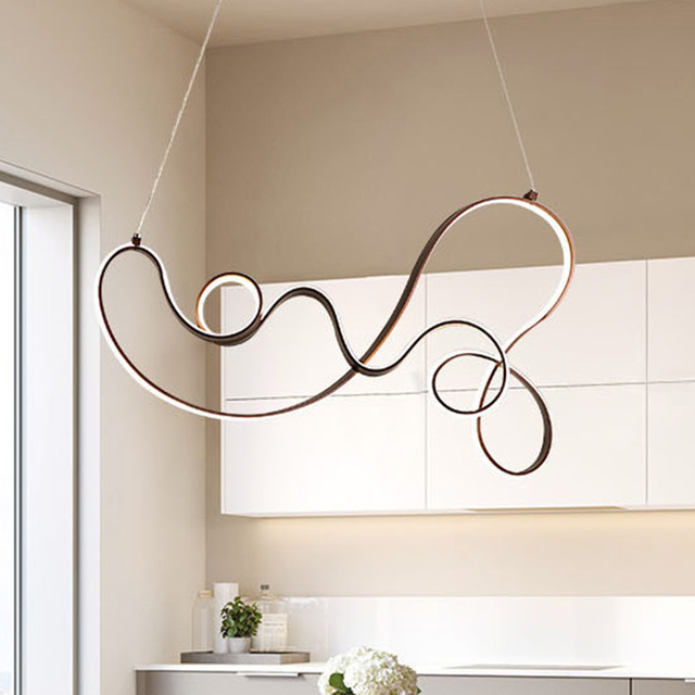 Coffee Finish Modern led Pendant Lights for Kitchen Dining Room Living Room Suspension luminaire Hanging Pendant Lamp Fixtures