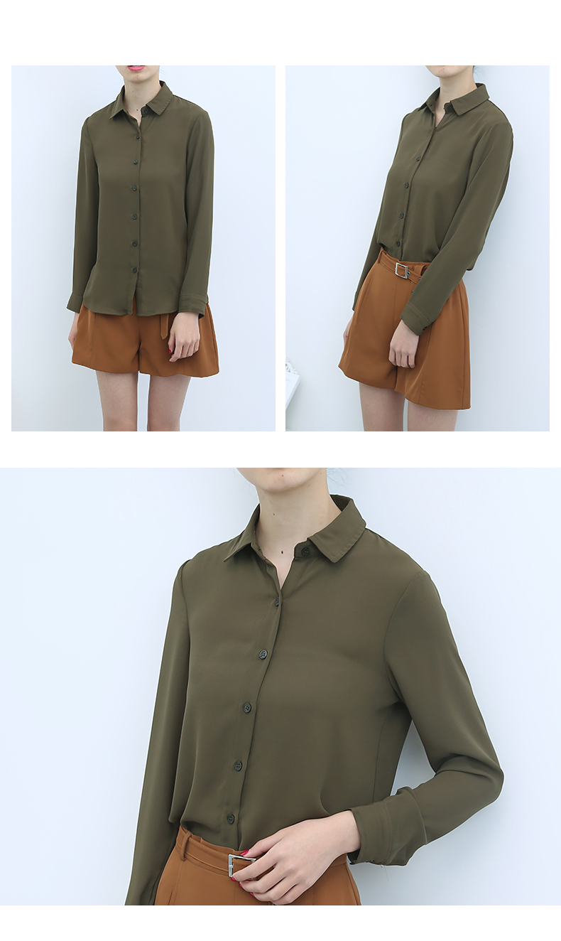 Women's Classic Shirt Chiffon Blouse Loose Long Sleeve Casual Shirts Lady Simple Style Tops 29