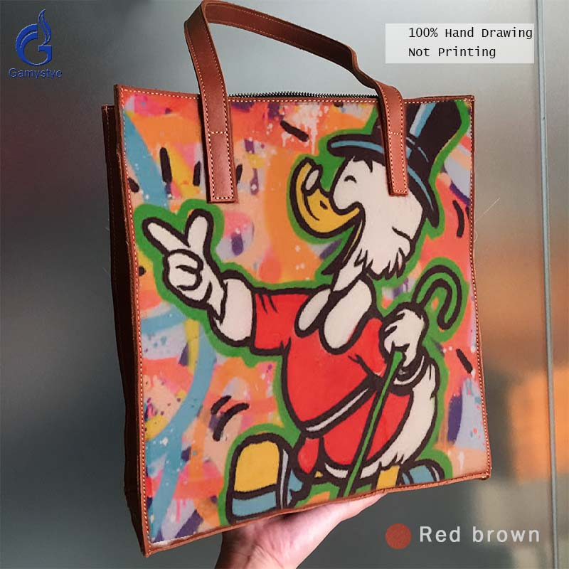 цена на Genuine Leather Women Handbag Art Hand Drawing Oil Painted Graffiti ALEC Duck New Grain Cowhide Leather Bag Handbags Totes Gift