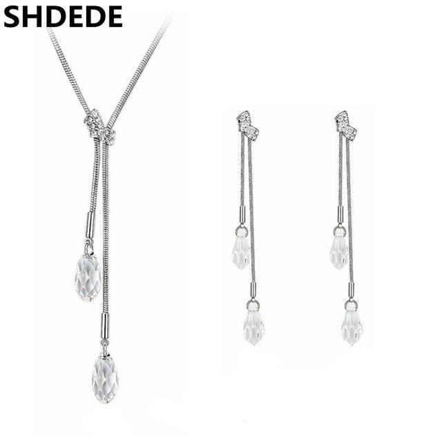 beb2ad700 Women High Quality Jewelry Set Teardrop Crystal from Swarovski Vintage  Fashion Necklace Pendants Long Drop Dangle Earrings 2736