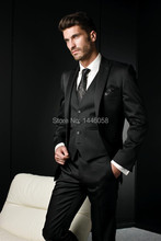 Custom Made Black Mens Suits With Pants Slim Fit Groom Tuxedos Best Man Wedding Suits For Men Groomsmen Suits 3 Pieces Suit