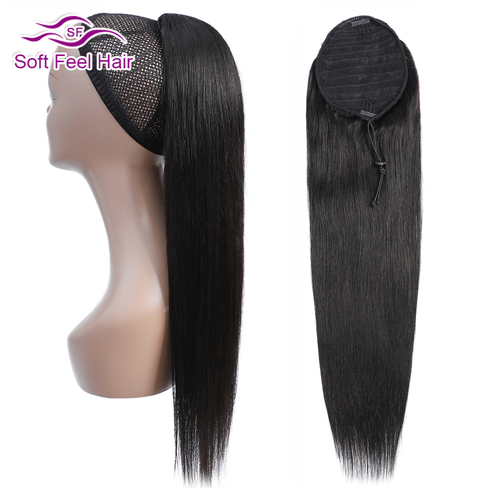 Straight Ponytail Human Hair Soft Feel Hair Clip In Extensions Drawstring Ponytail For Women Remy Hair Pony Tail Natural Black