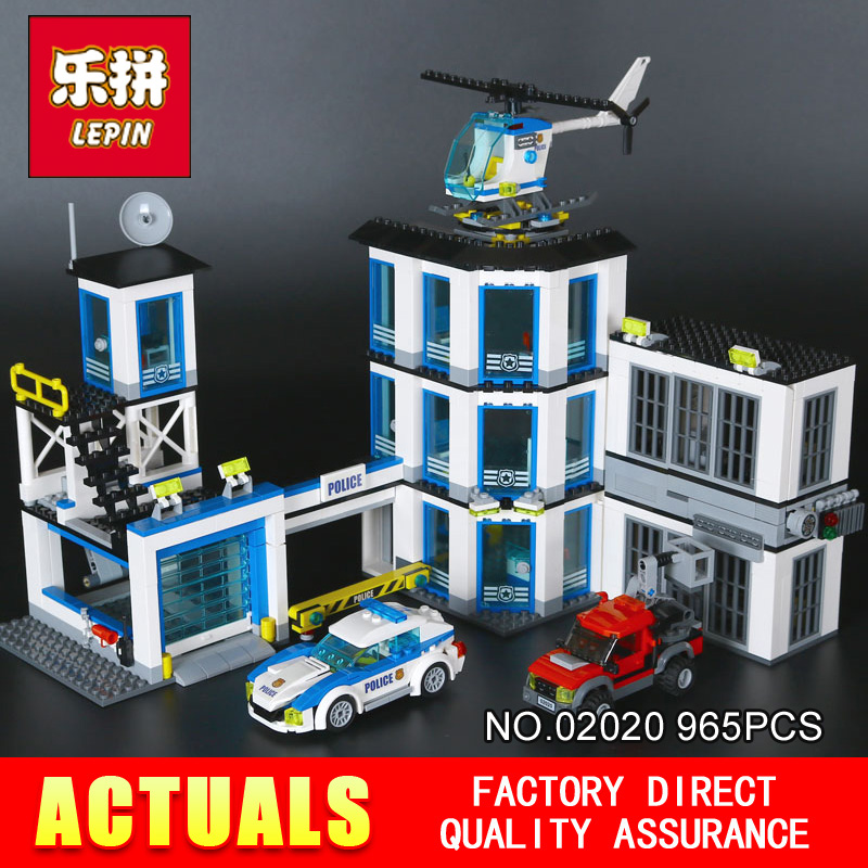 LEPIN 02020 965Pcs City Series The New Police Station Set Children Educational Building Blocks Bricks Toys Model for Gift  60141 lepin 16030 1340pcs movie series hogwarts city model building blocks bricks toys for children pirate caribbean gift