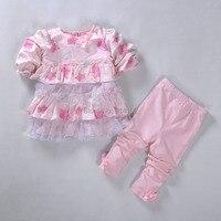 Nieuwe prinses lente baby meisjes kleding sets dress tops & broek 2 stks outfits kroon kant kids peuter meisje casual kleding