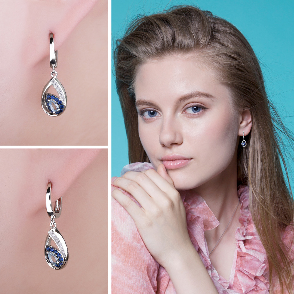 JewelryPalace Fashion 1.7ct Natural Sky Blue Topaz Clip Earrings For Woman Genuine 925 Sterling Silver Vintage Fine Jewelry