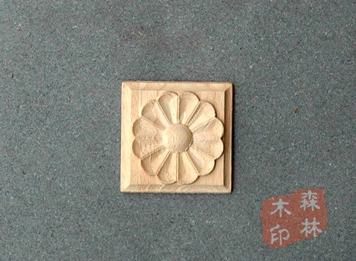Houten antieke meubels dongyang houtsnijwerk vierkante mode applique mode poort bloem smd houtkrullen