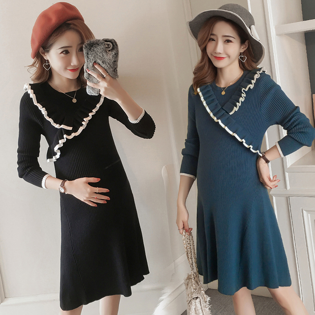 029f7bef840be Knitted Maternity Sweater Dress with Lace 2018 Autumn Fashion Clothes for  Pregnant Women Winter Thicken Slim Pregnancy Wear
