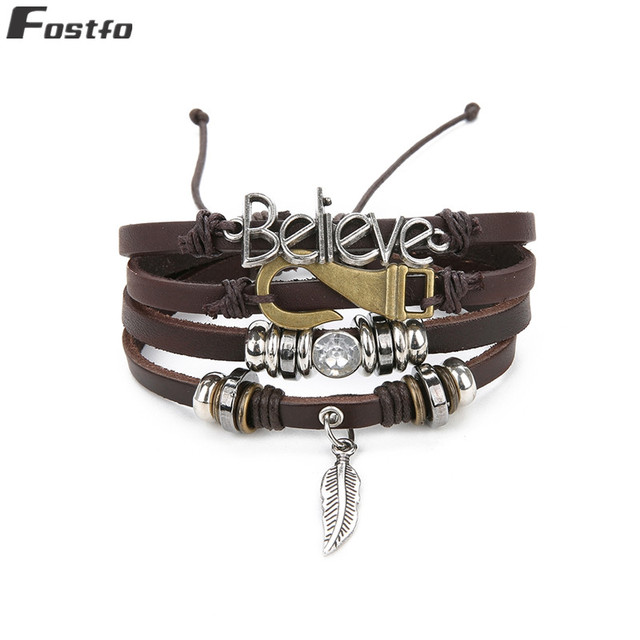 Multilayer Leather Feather...