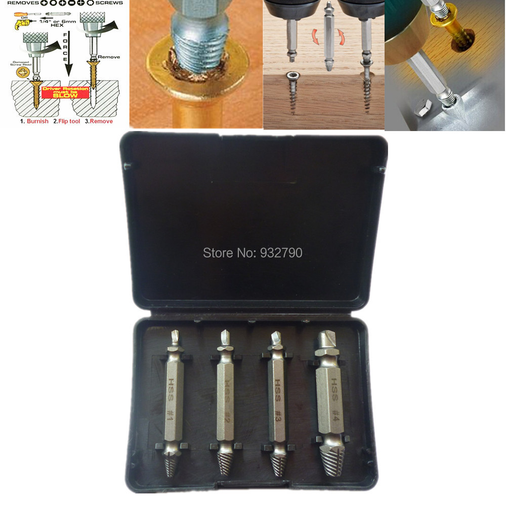 4pcs Double-Headed Damaged Screw Extractor Drill&Guide Removal Broken Bolts Easy Out Set Use With Any Drill 1# 2# 3# 4# W Case screw extractor