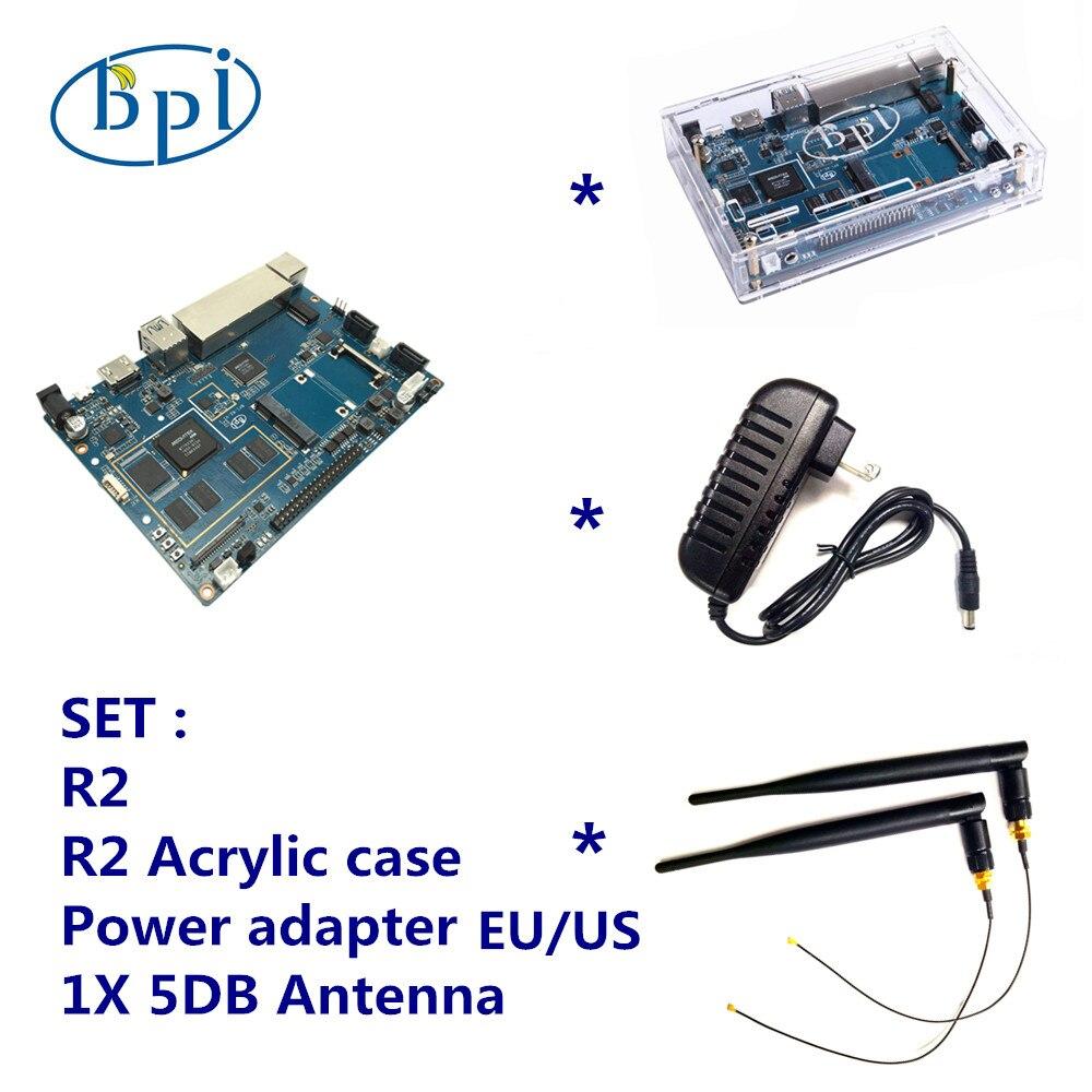 Banana Pi R2 + 12V DC (EU or US) + Acrylic Case + 5 DB Antenna SetBanana Pi R2 + 12V DC (EU or US) + Acrylic Case + 5 DB Antenna Set
