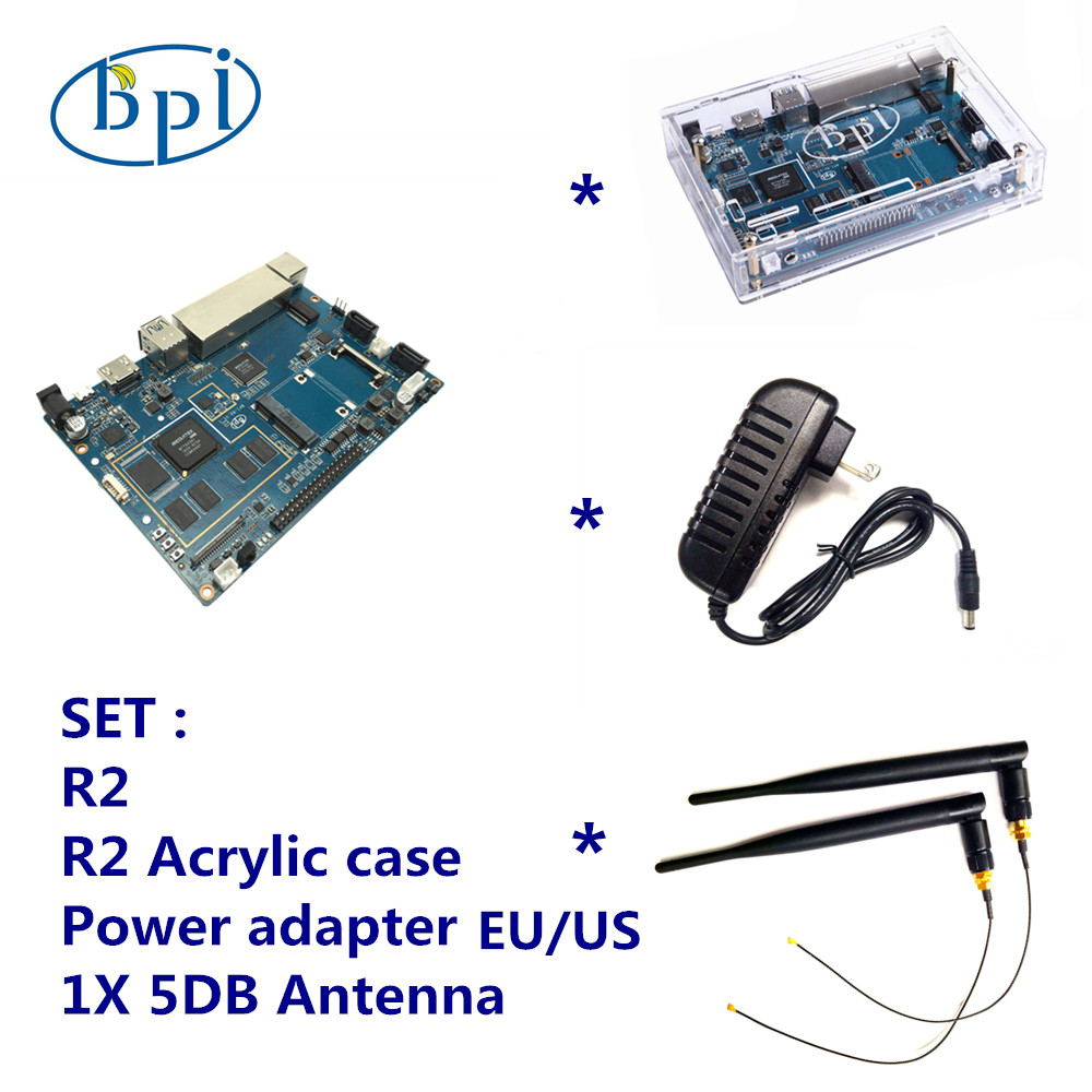Banana Pi R2 + 12 V DC (EU o US) + Acrylic Case + 5 DB Antenna Set