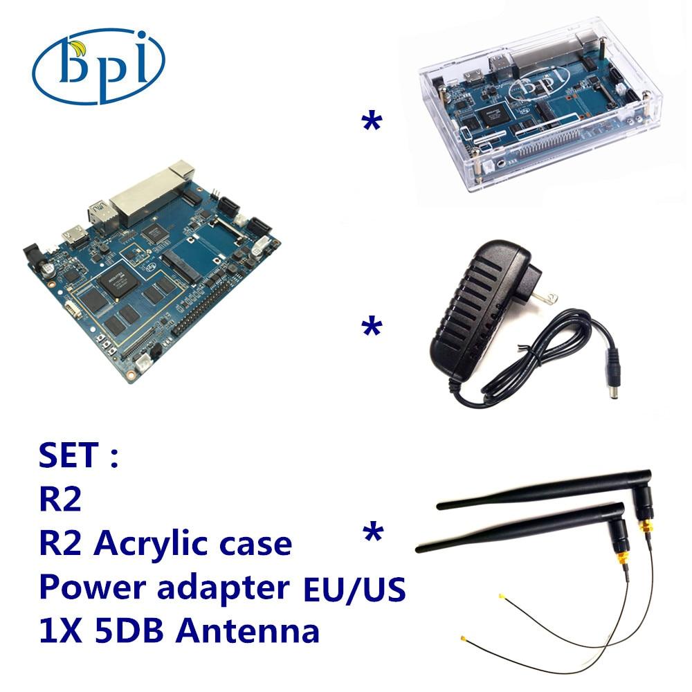 Banana Pi R2 + 12V DC (EU or US) + Acrylic Case + 5 DB Antenna Set